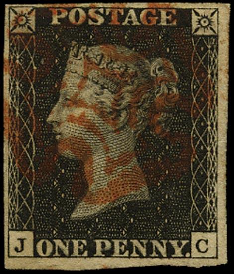 GB 1840  SG2 Pl.5 Penny Black red MC (JC)