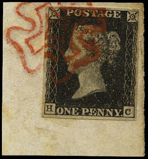 GB 1840  SG2 Pl.5 Penny Black small piece red MC (HC)