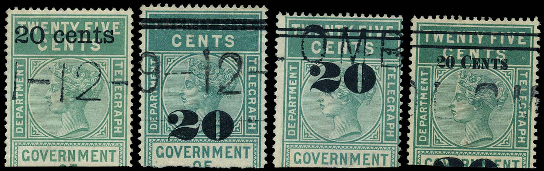 CEYLON 1882  SGT28/31 Telegraph