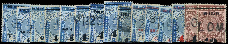 CEYLON 1882  SGT42/3, 45/51, 53/8 Telegraph