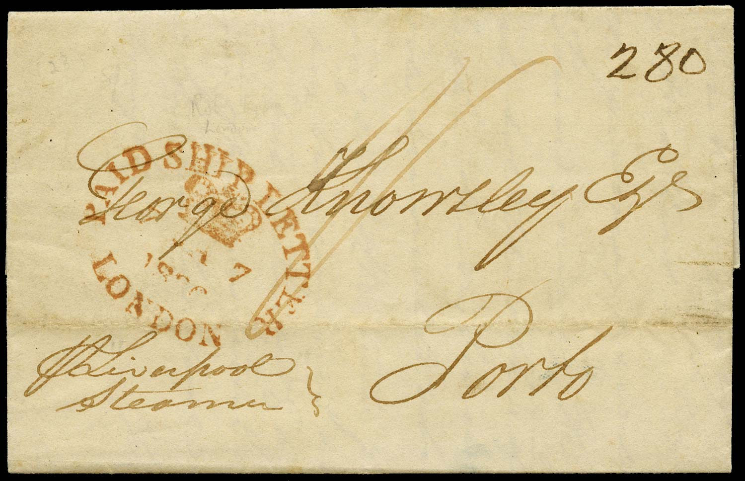 GB 1836 Pre-Stamp London to Porto