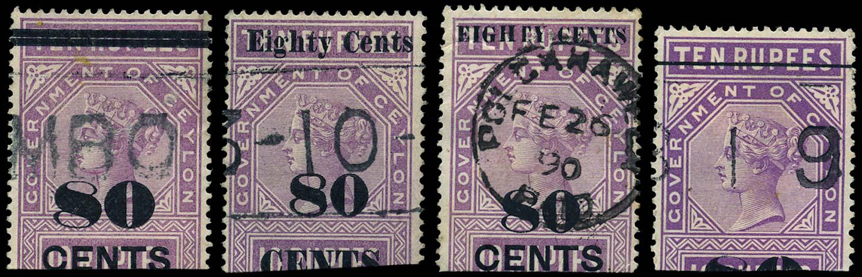 CEYLON 1882  SGT108/9, 111/12 Telegraph