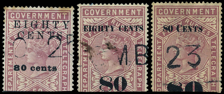 CEYLON 1882  SGT120, 123/4 Telegraph