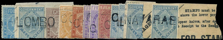 CEYLON 1869  SGZT2/3, 5/6, 8, 12/13, 15 Telegraph