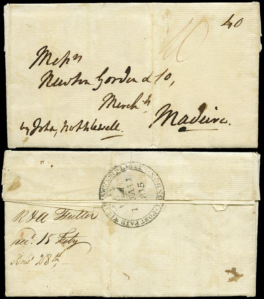 GB 1815 Pre-Stamp London to Madeira
