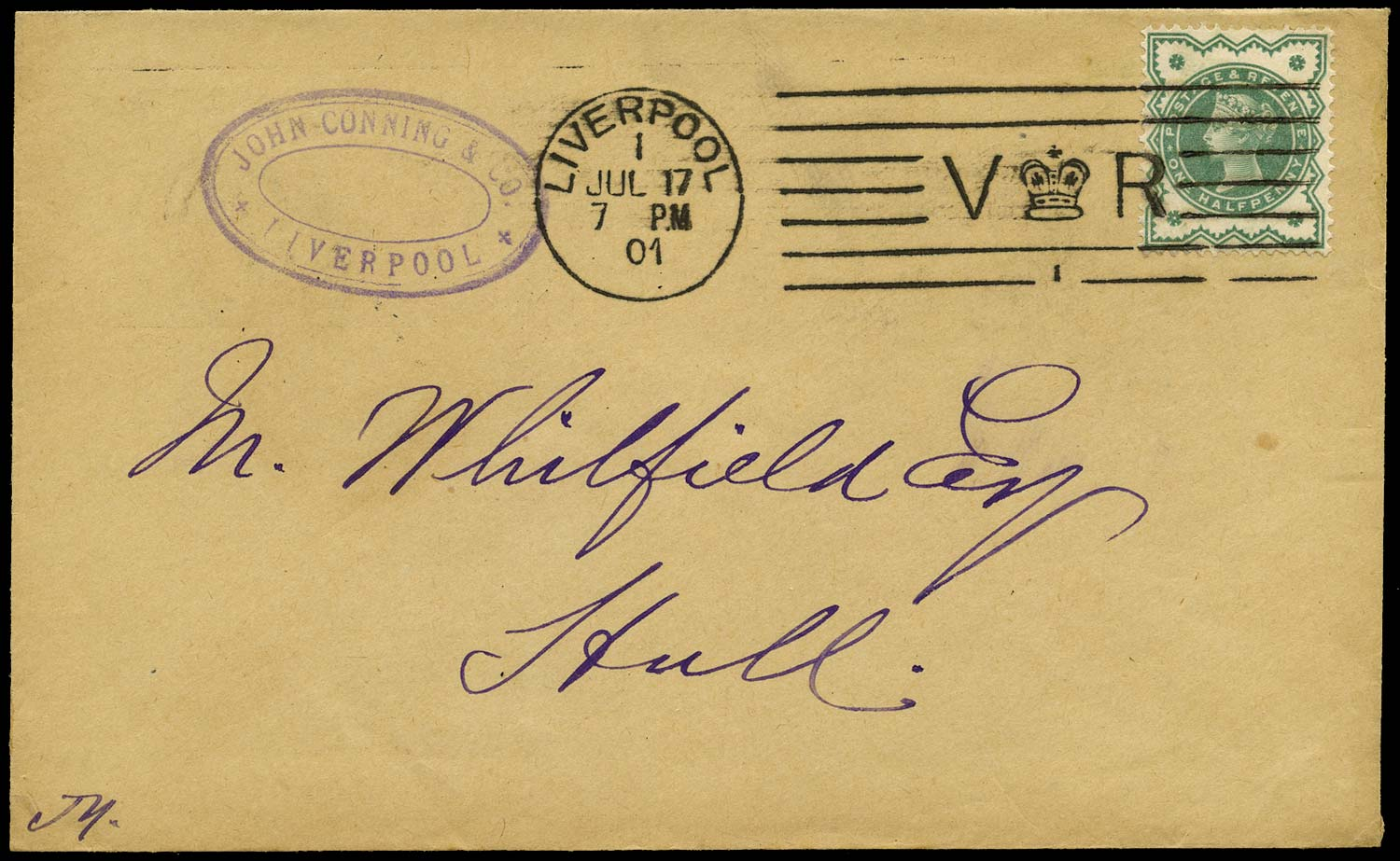 GB 1901  SG213 Cover  Liverpool Bickerdike number