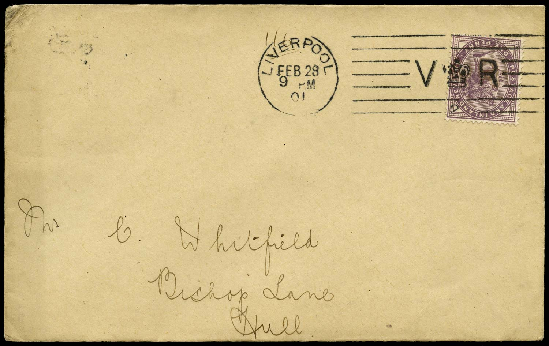 GB 1901  SG172 Cover Liverpool Bickerdike number