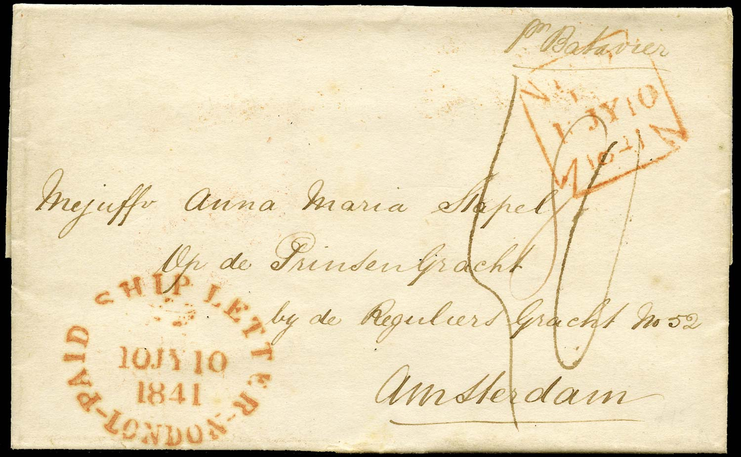 GB 1841 Pre-Stamp London to Amsterdam