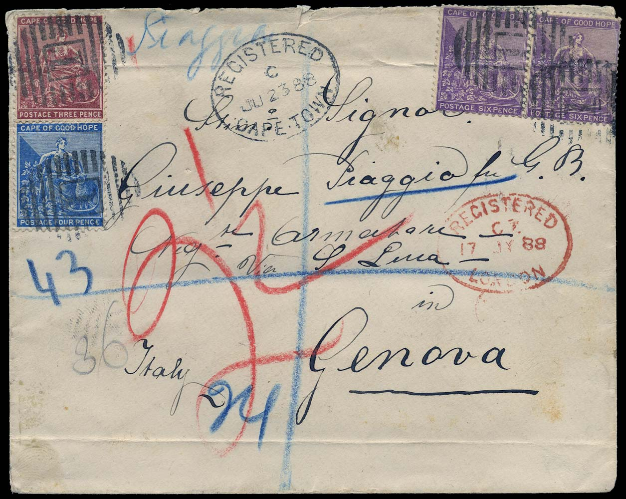 CAPE OF GOOD HOPE 1888  SG30, 43a, 52b Cover registered from Cape Town to Italy