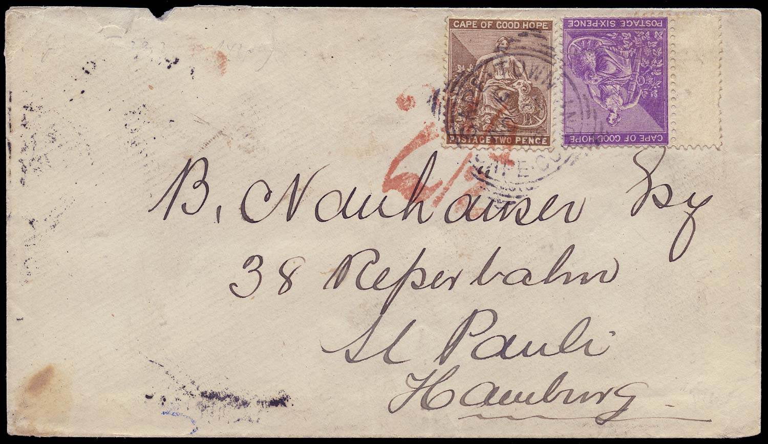 CAPE OF GOOD HOPE 1883  SG42, 44 Cover from Cape Town to Germany