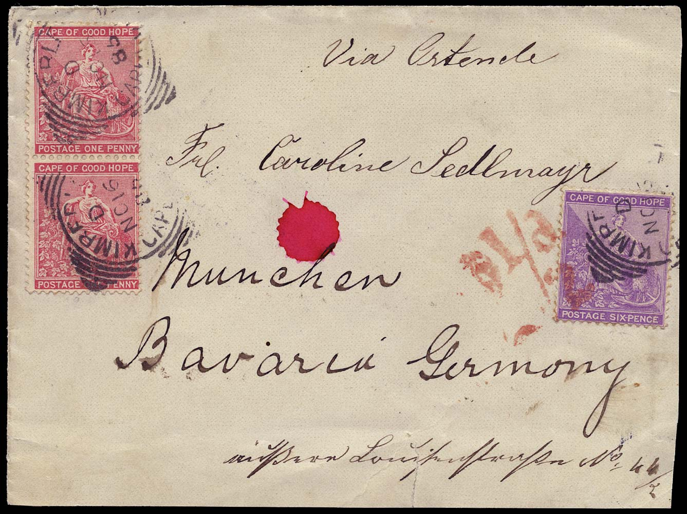 CAPE OF GOOD HOPE 1885  SG42, 44 Cover from Cape Town to Germany