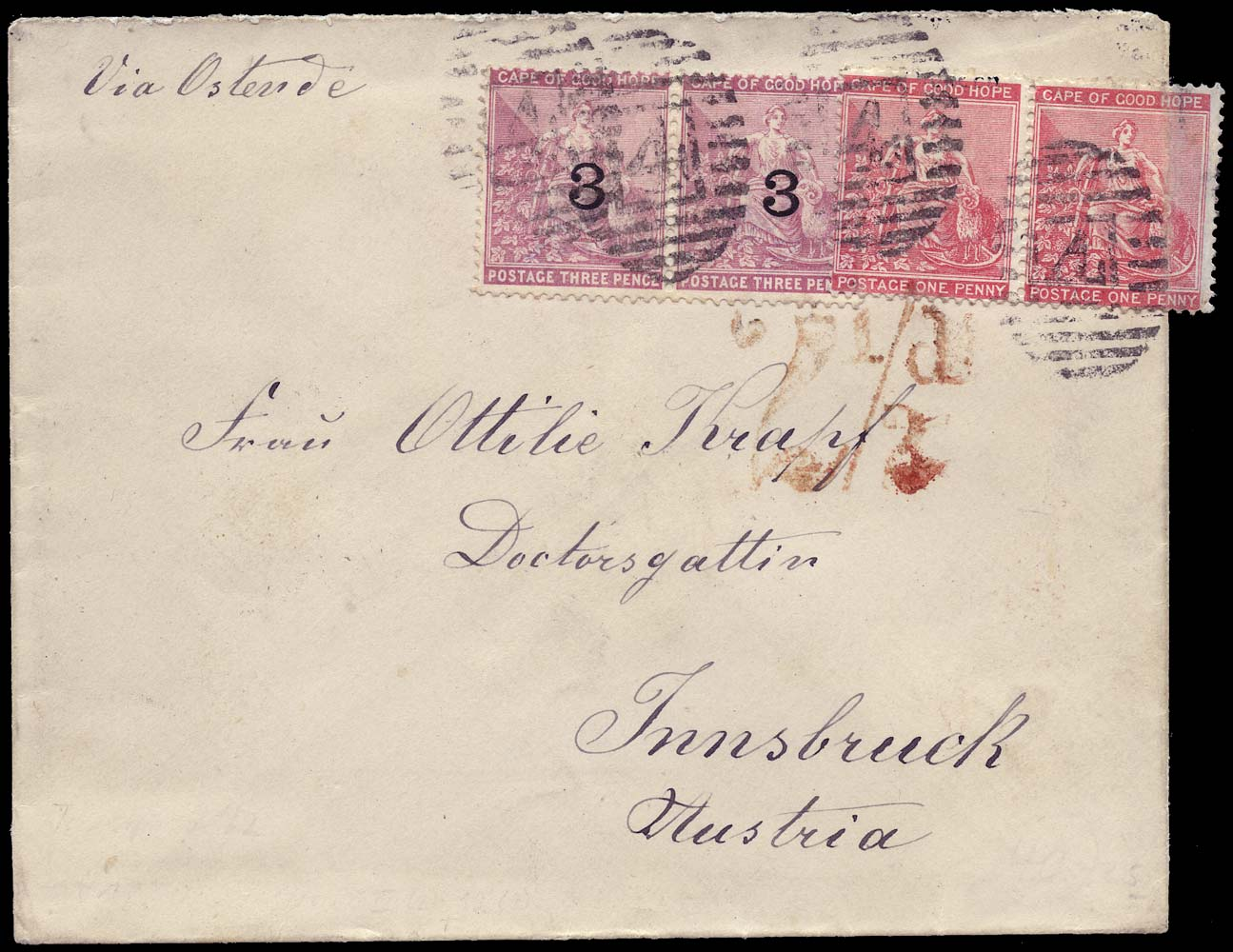 CAPE OF GOOD HOPE 1880  SG29, 37 Cover from King Williams Town to Austria