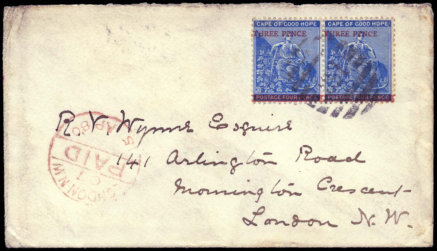 CAPE OF GOOD HOPE 1880  SG34 Cover from Robben Island to England