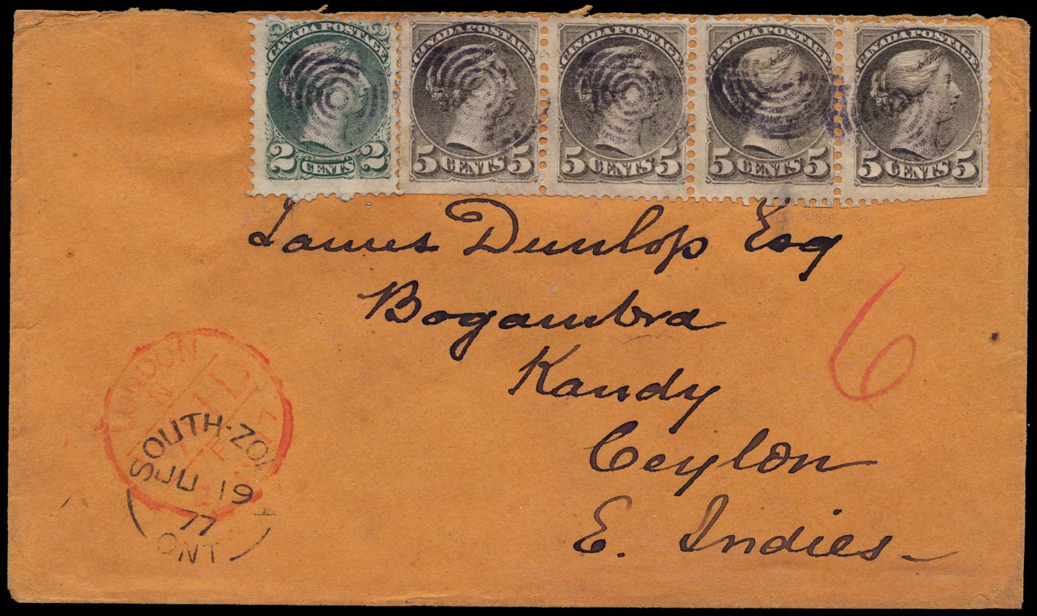 CANADA 1877  SG85, 94 Cover to Ceylon at pre-UPU 22c rate