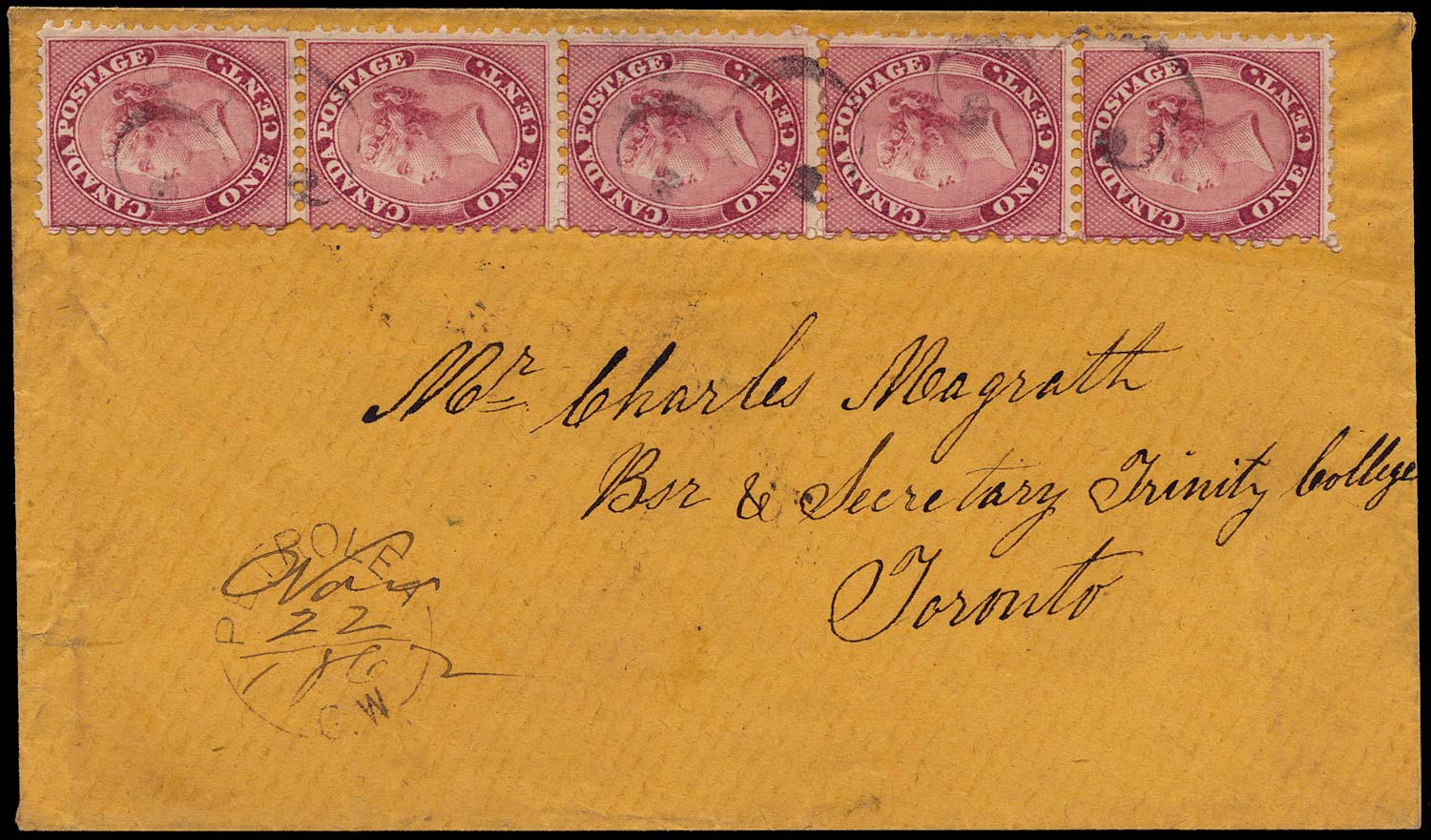 CANADA 1862  SG30 Cover from Petrolea to Toronto with 1c strip of 5