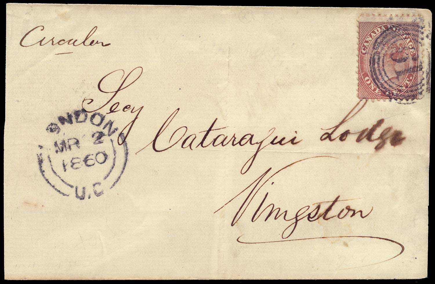 CANADA 1860  SG29 Cover from London to Kingston at 1c circular rate