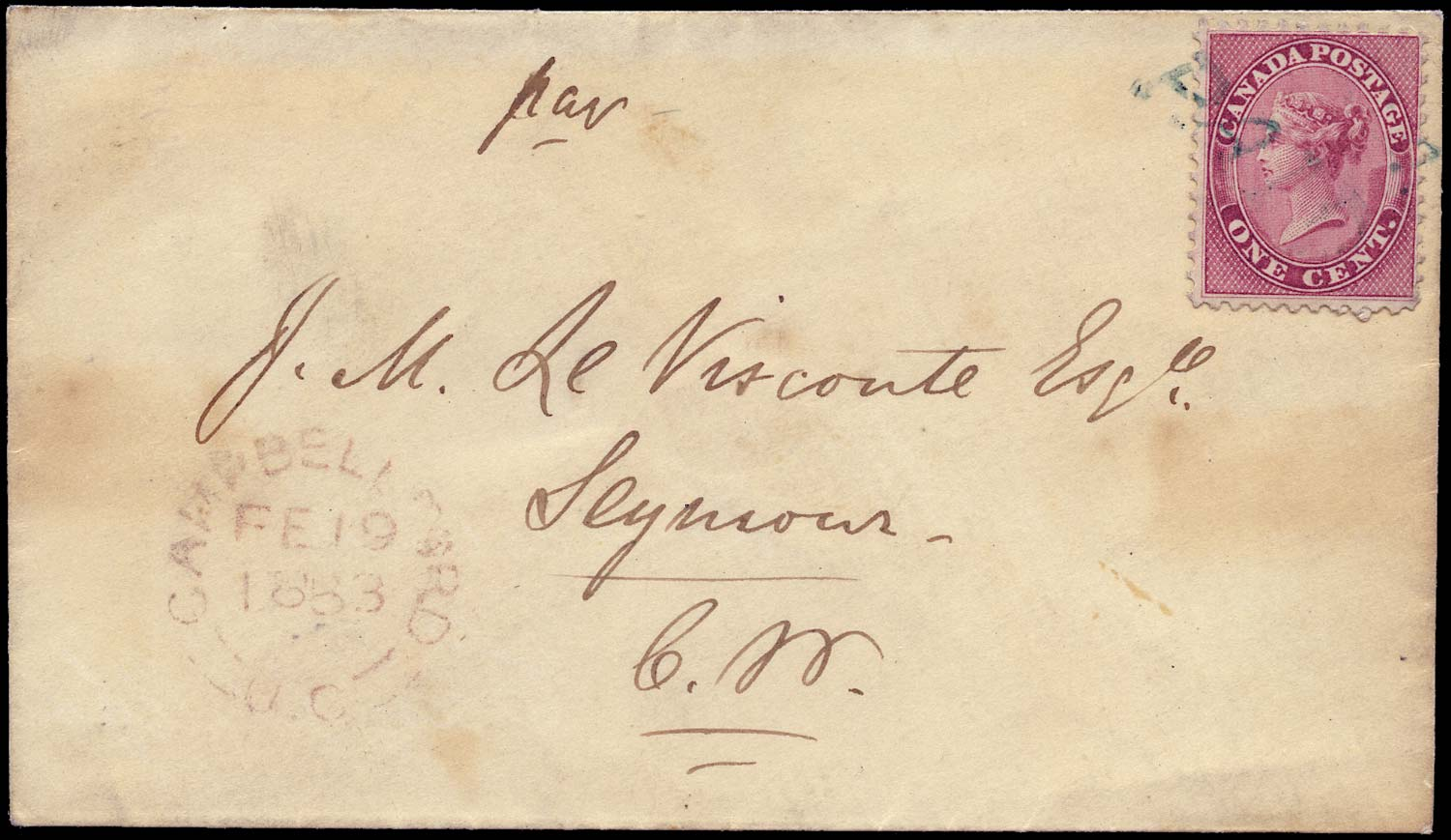 CANADA 1863  SG30 Cover from Campbellford to Seymour 1c drop letter