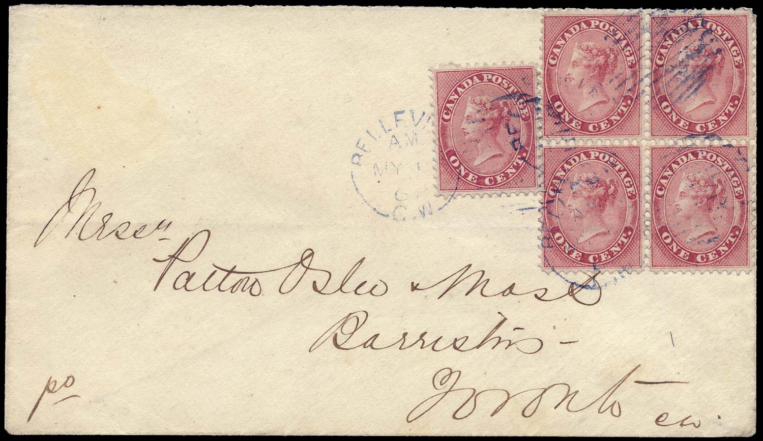 CANADA 1867  SG29 Cover from Belleville to Toronto inclg 1c block of 4