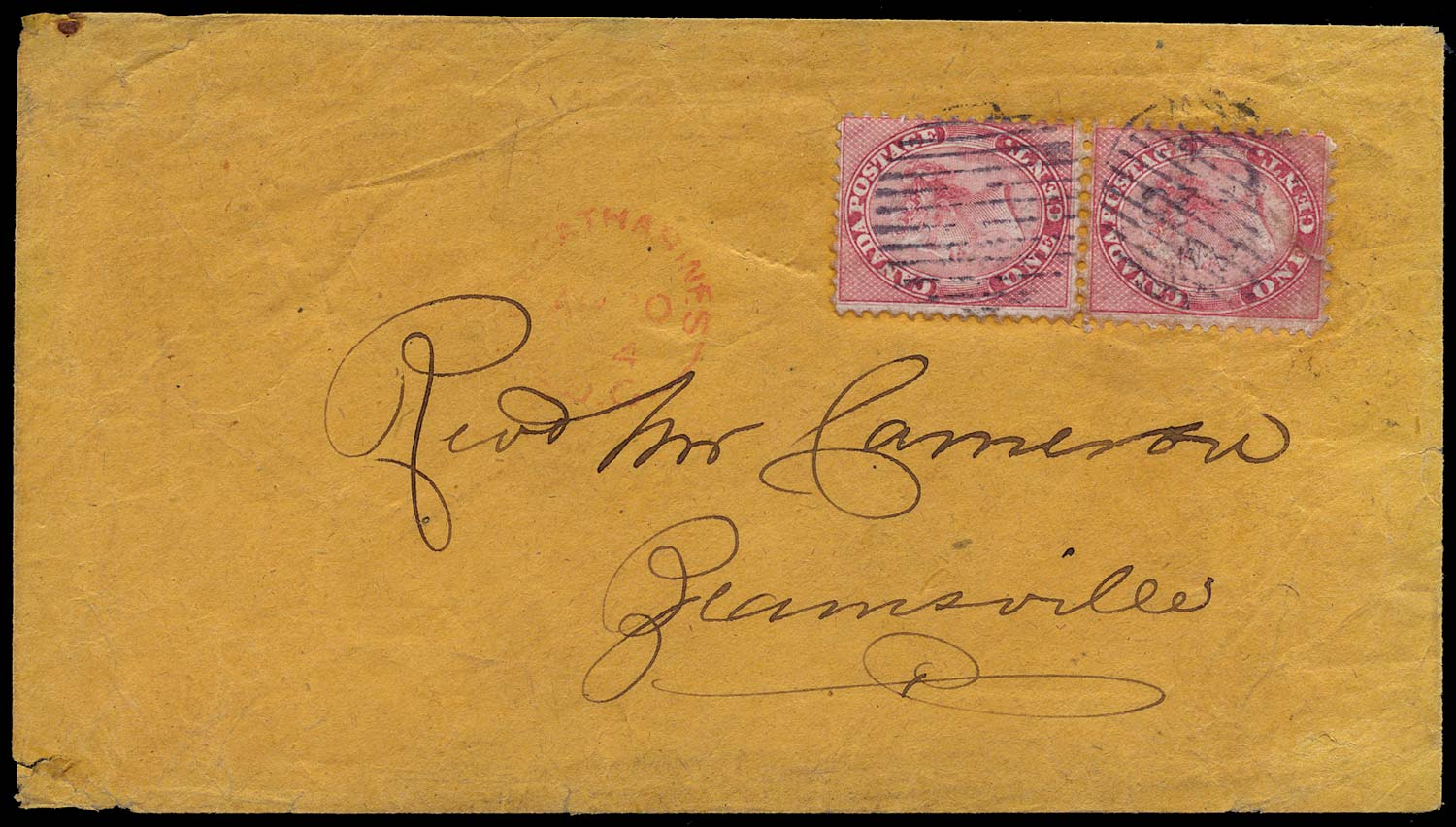 CANADA 1864  SG30 Cover from St Catherines to Beamsville at 2c rate