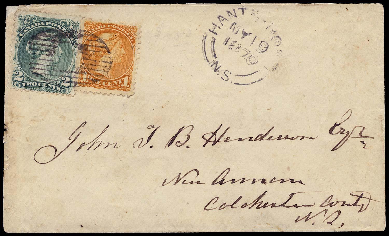 CANADA 1870  SG57, 72 Cover from Hants Port to New Annan LQ 2c + SQ 1c