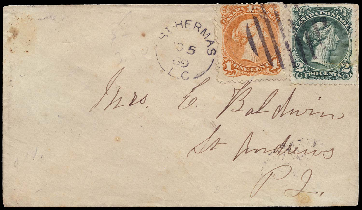 CANADA 1869  SG56a, 57 Cover from St Hermas to St Andrews with LQ 1c + 2c