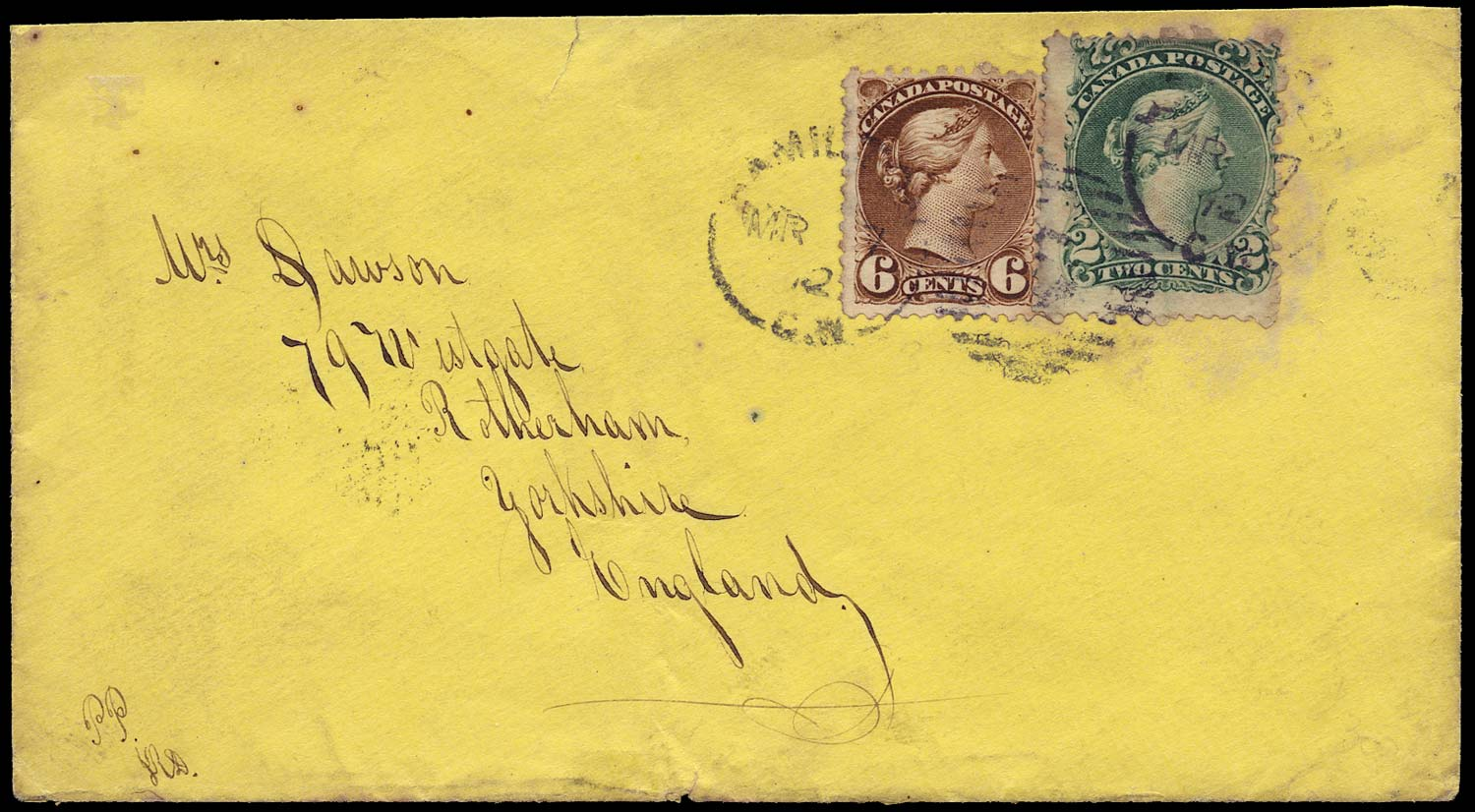 CANADA 1872  SG57, 86 Cover from Hamilton to England 8c Cunard Line rate