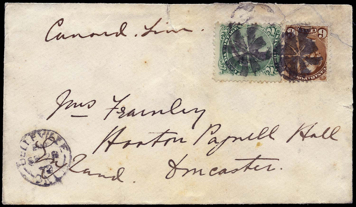 CANADA 1872  SG57a, 86 Cover from Belleville to England 8c Cunard Line rate