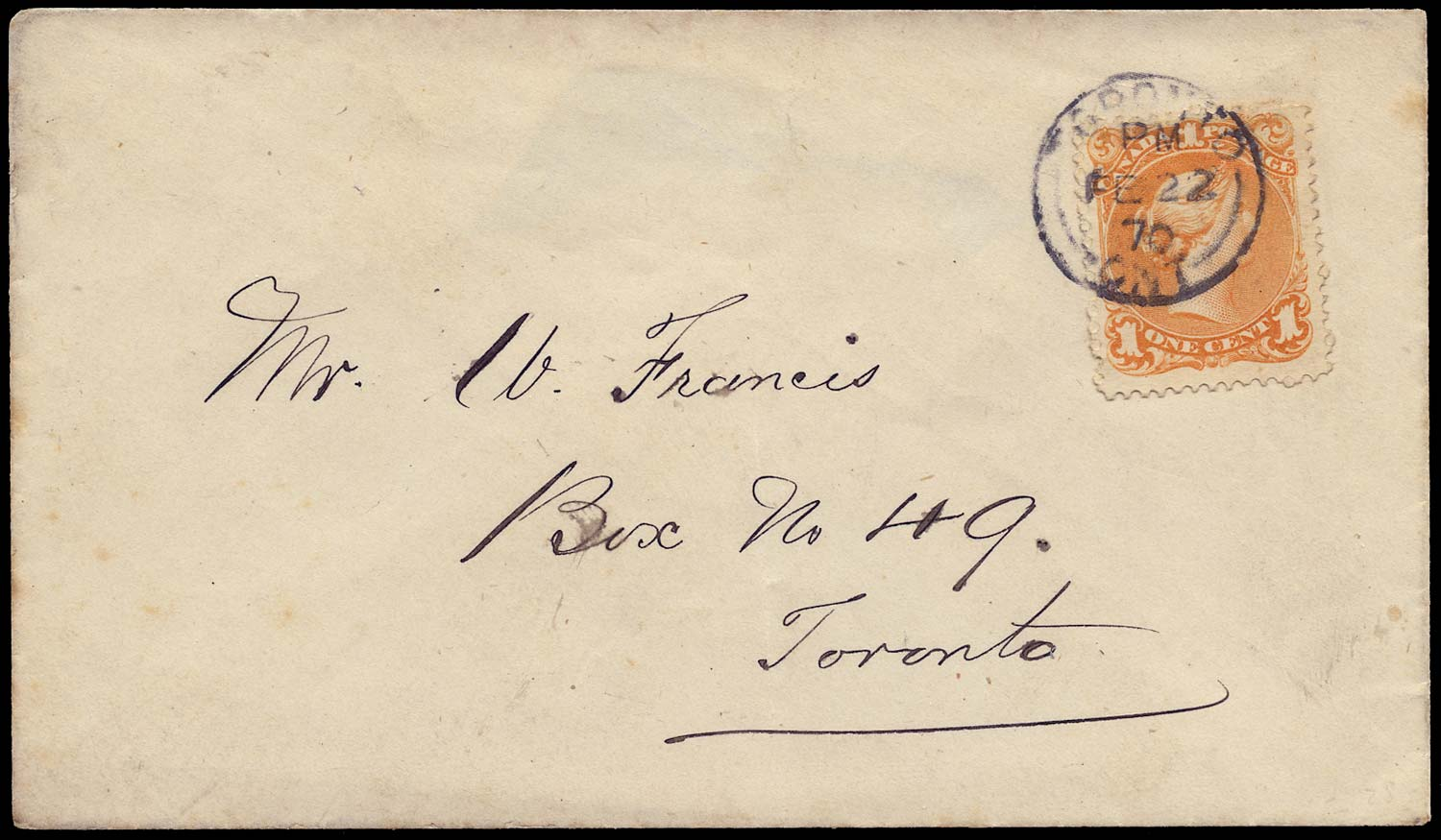 CANADA 1870  SG56a Cover franked at 1c local drop letter rate