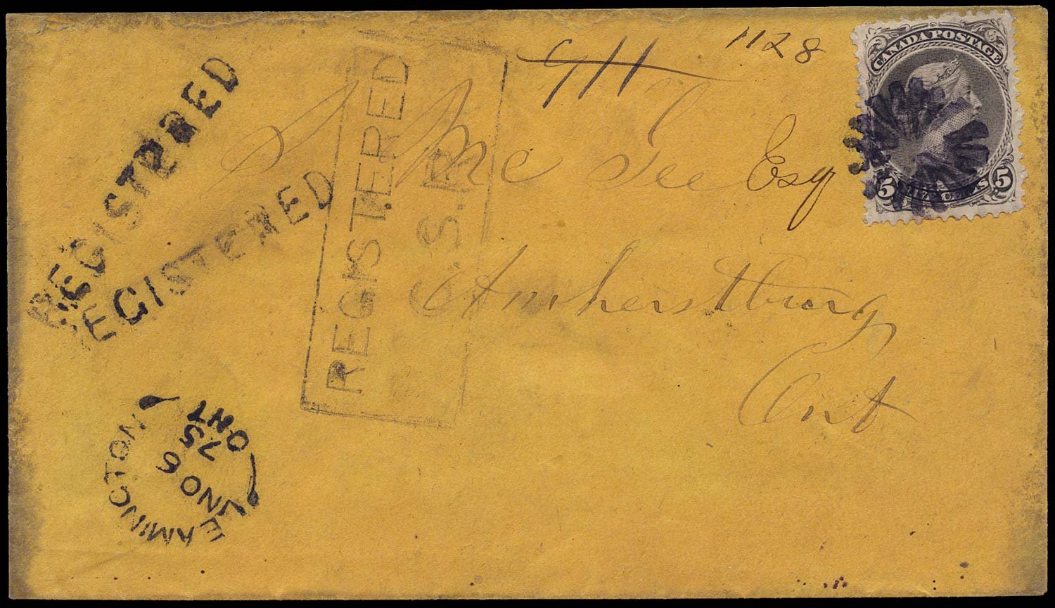 CANADA 1875  SG63 Cover registered with Large Queen 5c franking