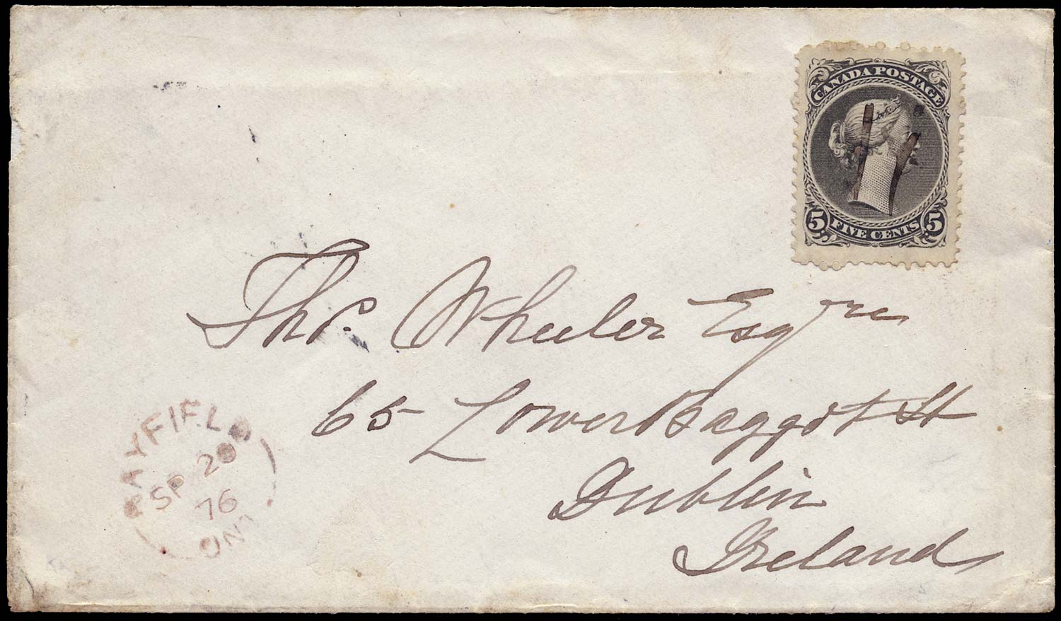 CANADA 1875  SG63 Cover to Ireland with jumbo Large Queen 5c franking