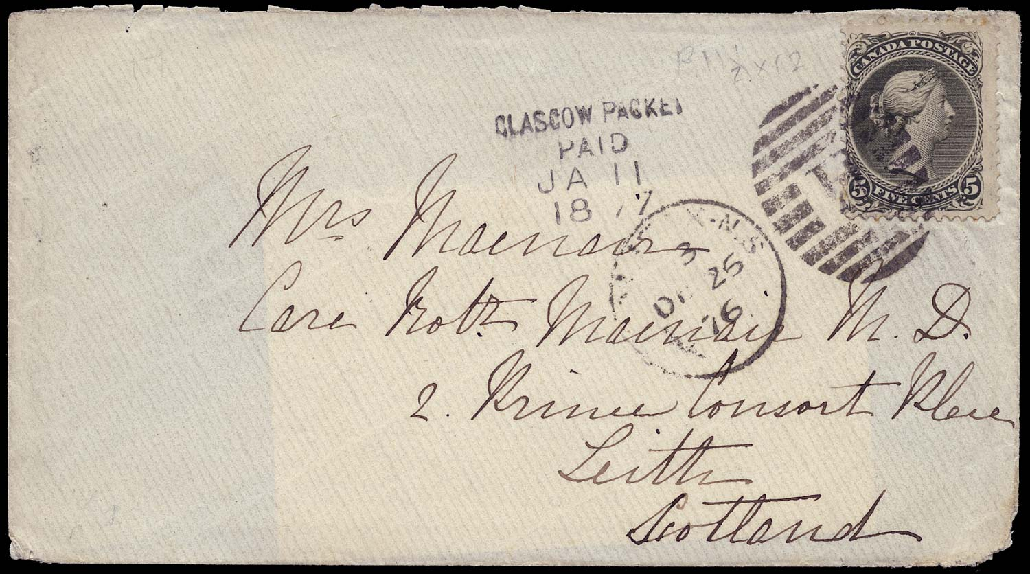 CANADA 1876  SG63 Cover from Halifax to Scotland with Large Queen 5c