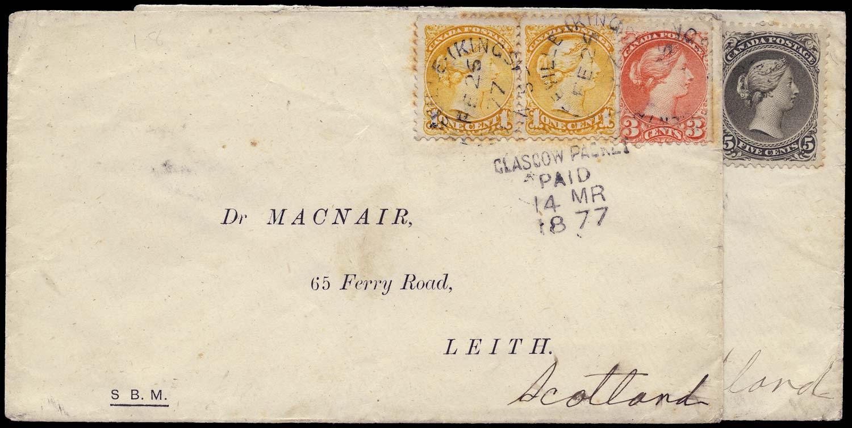 CANADA 1877  SG63, 91, 96 Cover x2 to Scotland Macnair correspondence