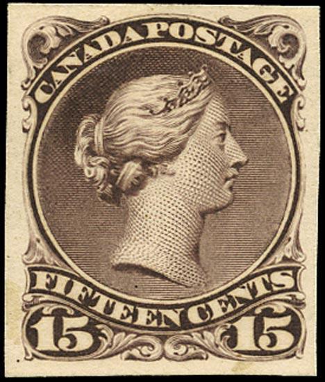 CANADA 1868  SG52 Proof Large Queen 15c deep reddish purple