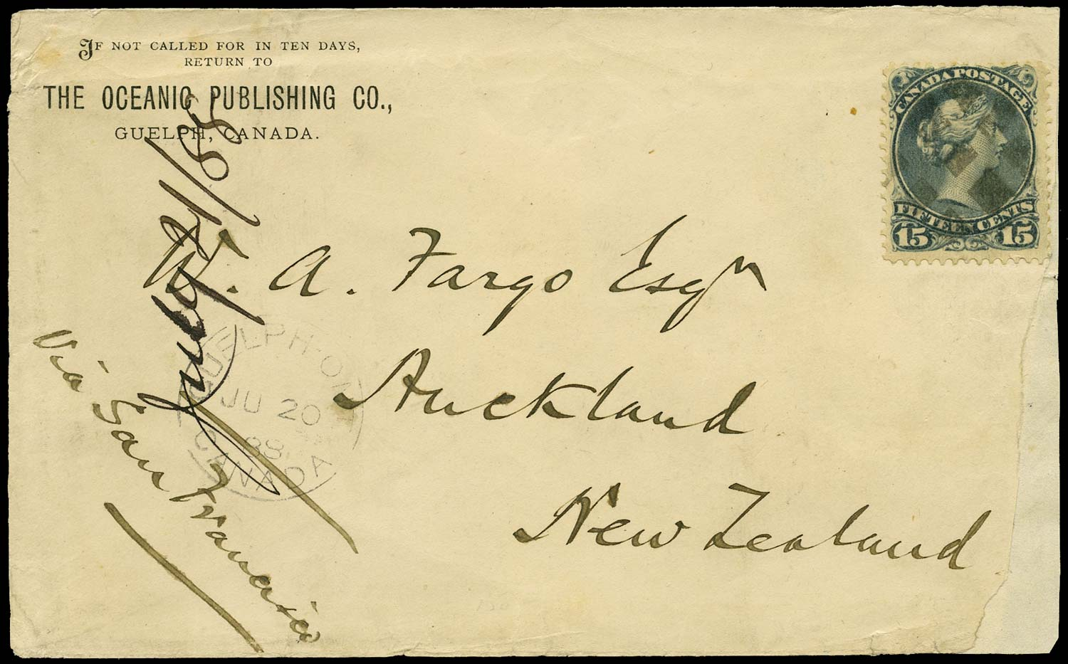 CANADA 1888  SG68 Cover from Guelph to New Zealand with 15c Large Queen