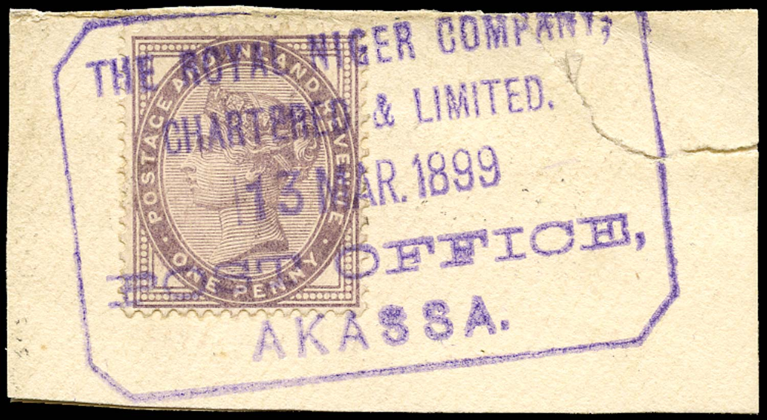 GB 1882  SG172 Used Post Office Akassa, Royal Niger Co
