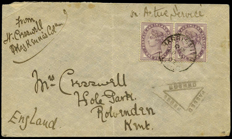 GB 1882  SG172 Cover Harrismith, SA to Rolvenden