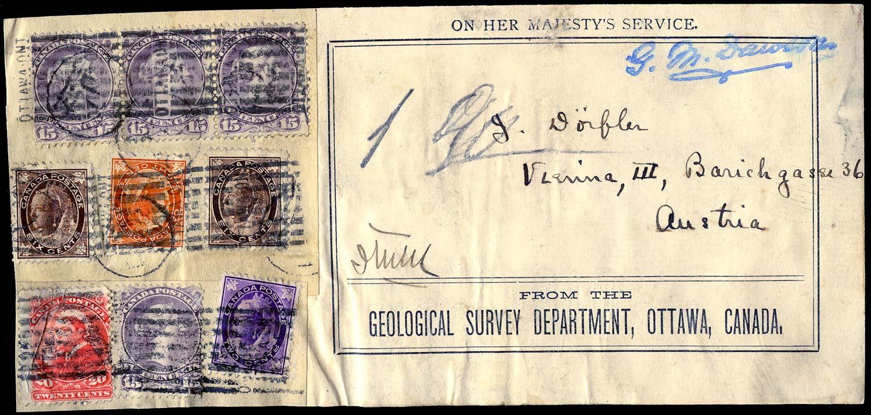 CANADA 1898 (c)  SG70/148 Cover OHMS parcel piece to Austria $1.02 rate