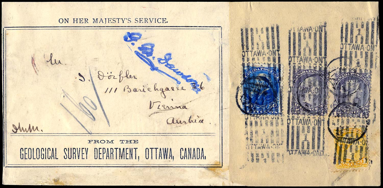 CANADA 1898 (c)  SG70, 75, 116 Cover OHMS parcel piece to Austria 81c rate