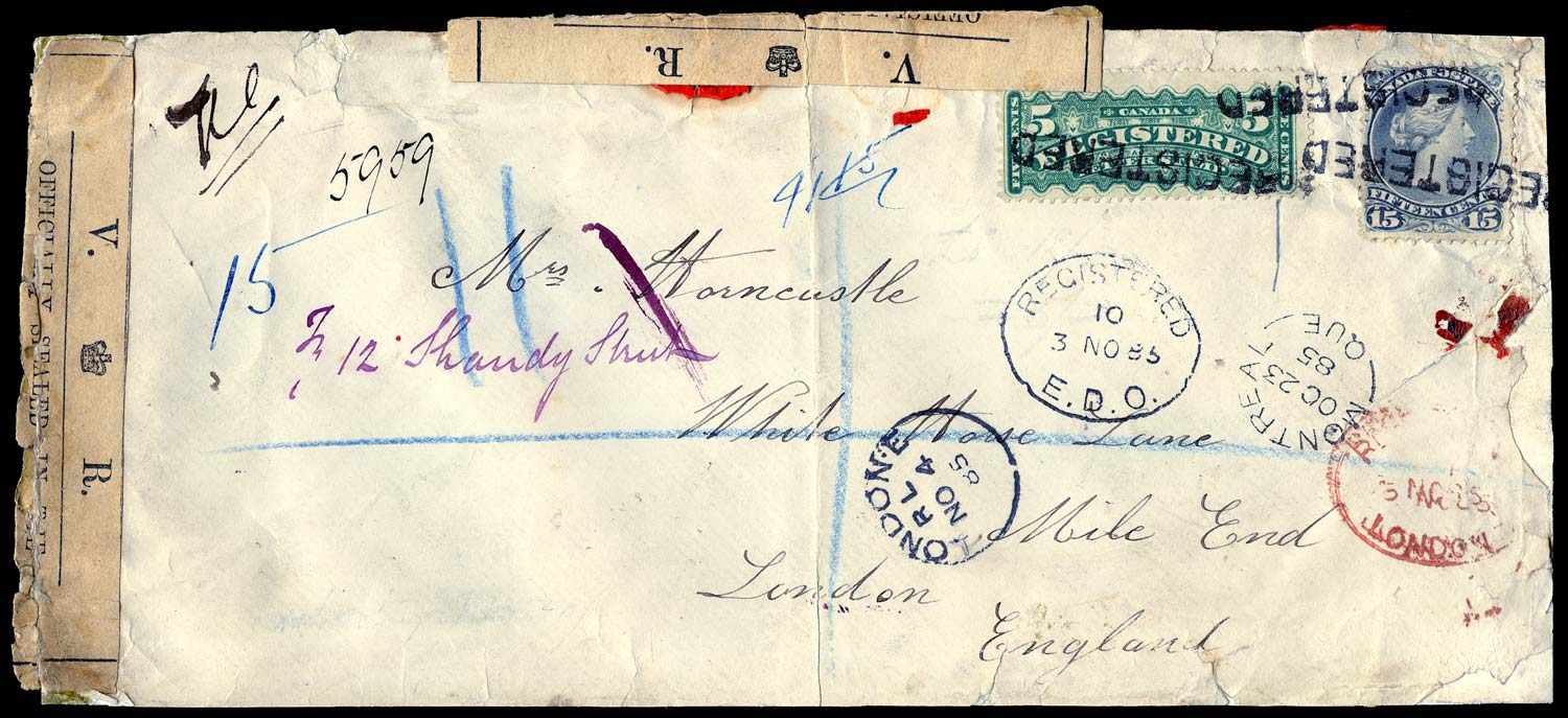 CANADA 1885  SG68, R6 Cover registered to England officially resealed