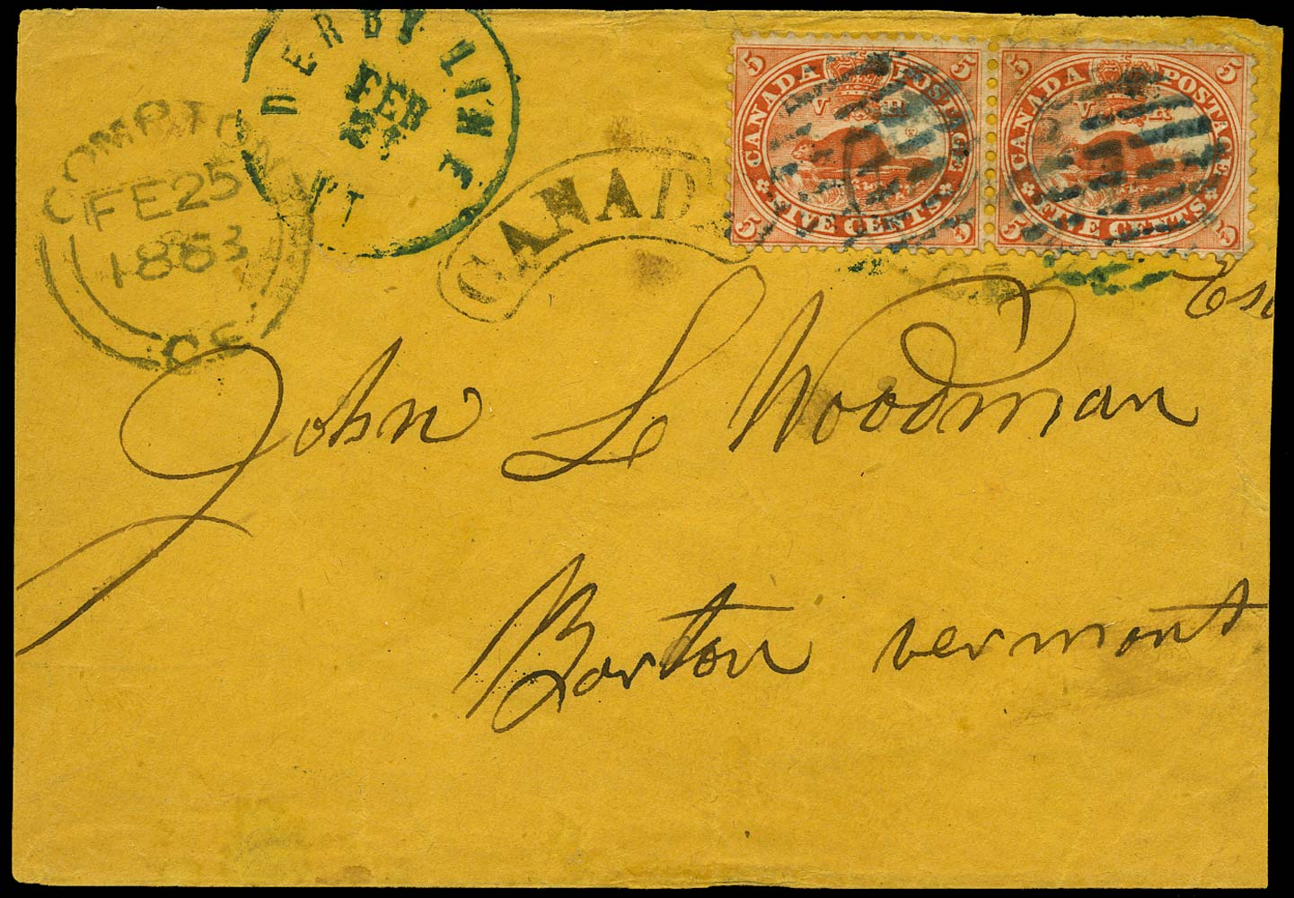 CANADA 1863  SG32 Cover from Compton to Vermont with 5c Beaver