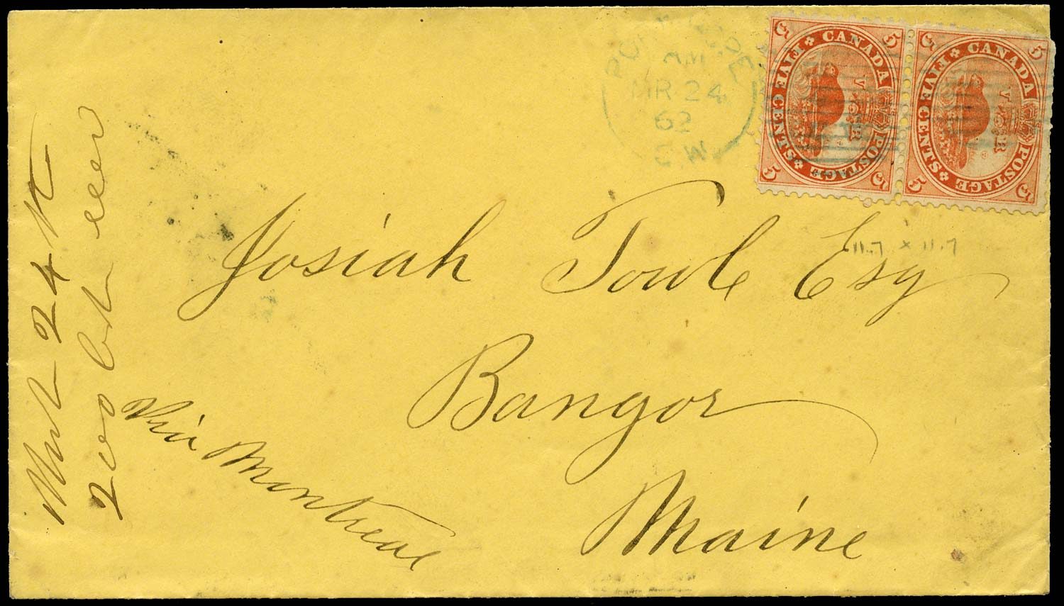 CANADA 1862  SG31 Cover from Port Hope to USA with blue postmark