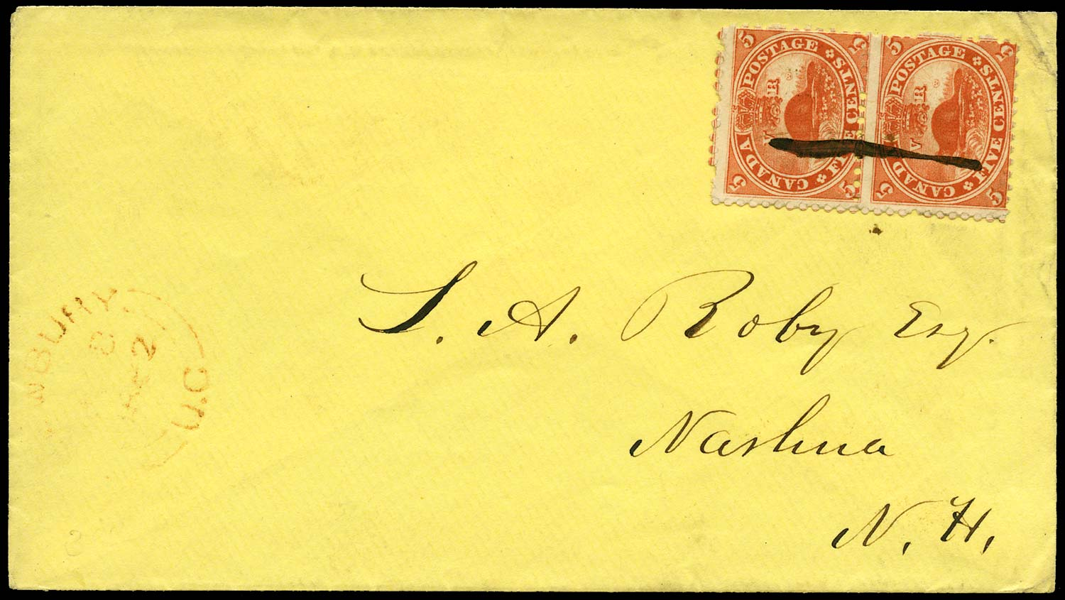 CANADA 1862  SG32 Cover from Newbury to New Hampshire with 5c Beaver