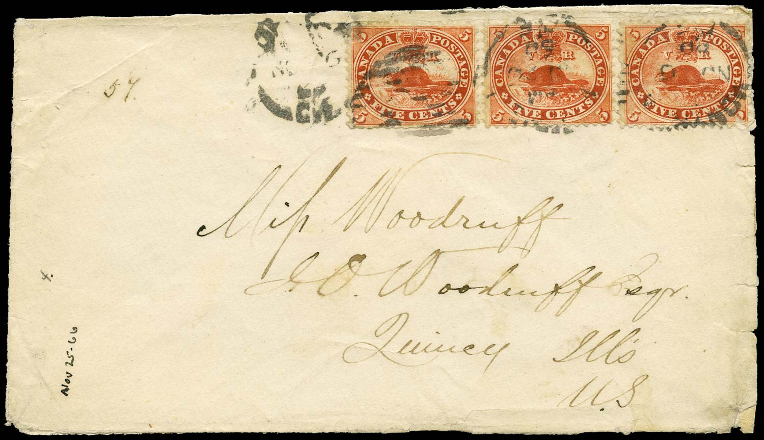 CANADA 1866  SG31 Cover registered from Montreal to USA