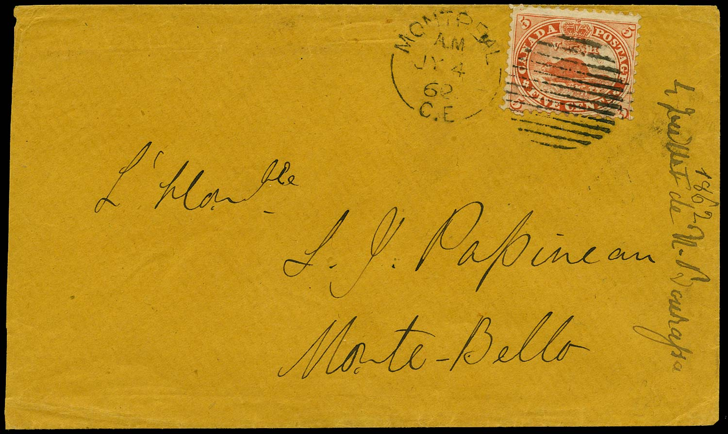 CANADA 1862  SG31 Cover from Montreal to Monte-Bello with 5c Beaver