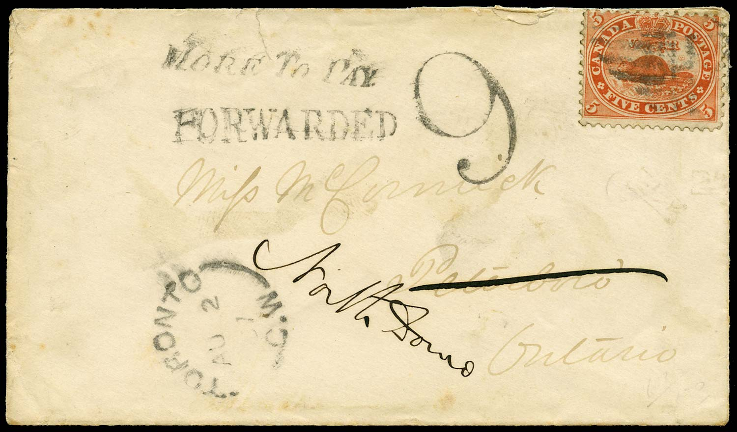 CANADA 1867  SG31 Cover from Toronto with More To Pay handstamp