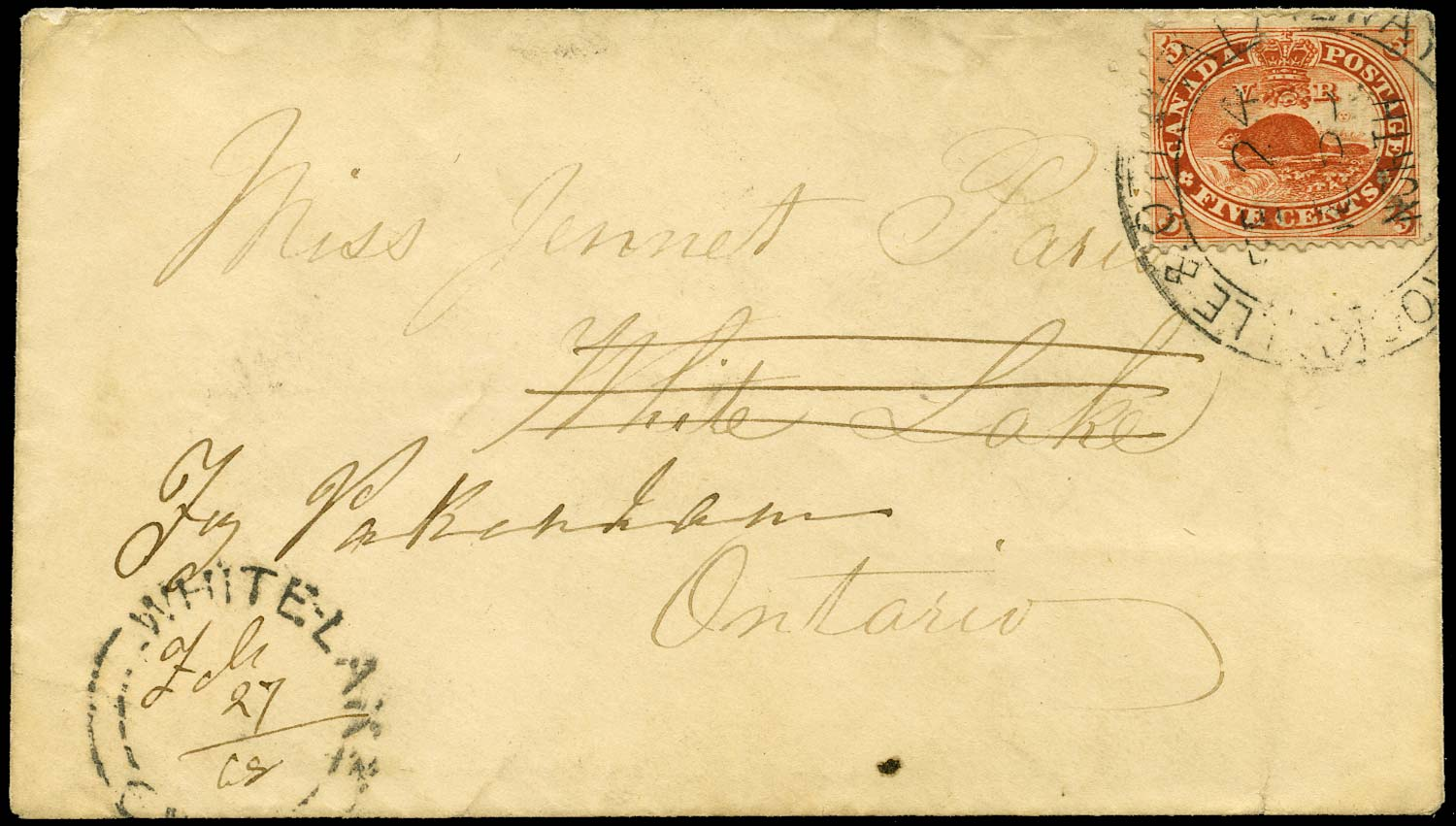 CANADA 1867  SG32 Cover carried on Brockville & Ottawa Railway R.P.O.