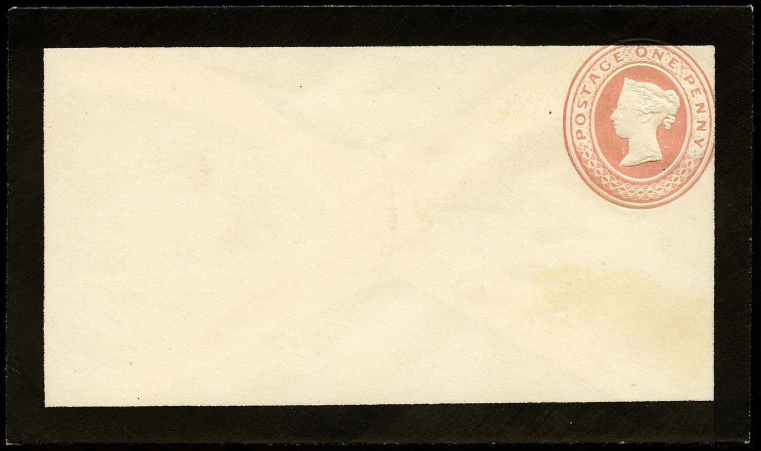 GB 1841 Postal Stationery 1d Pink Mourning envelope