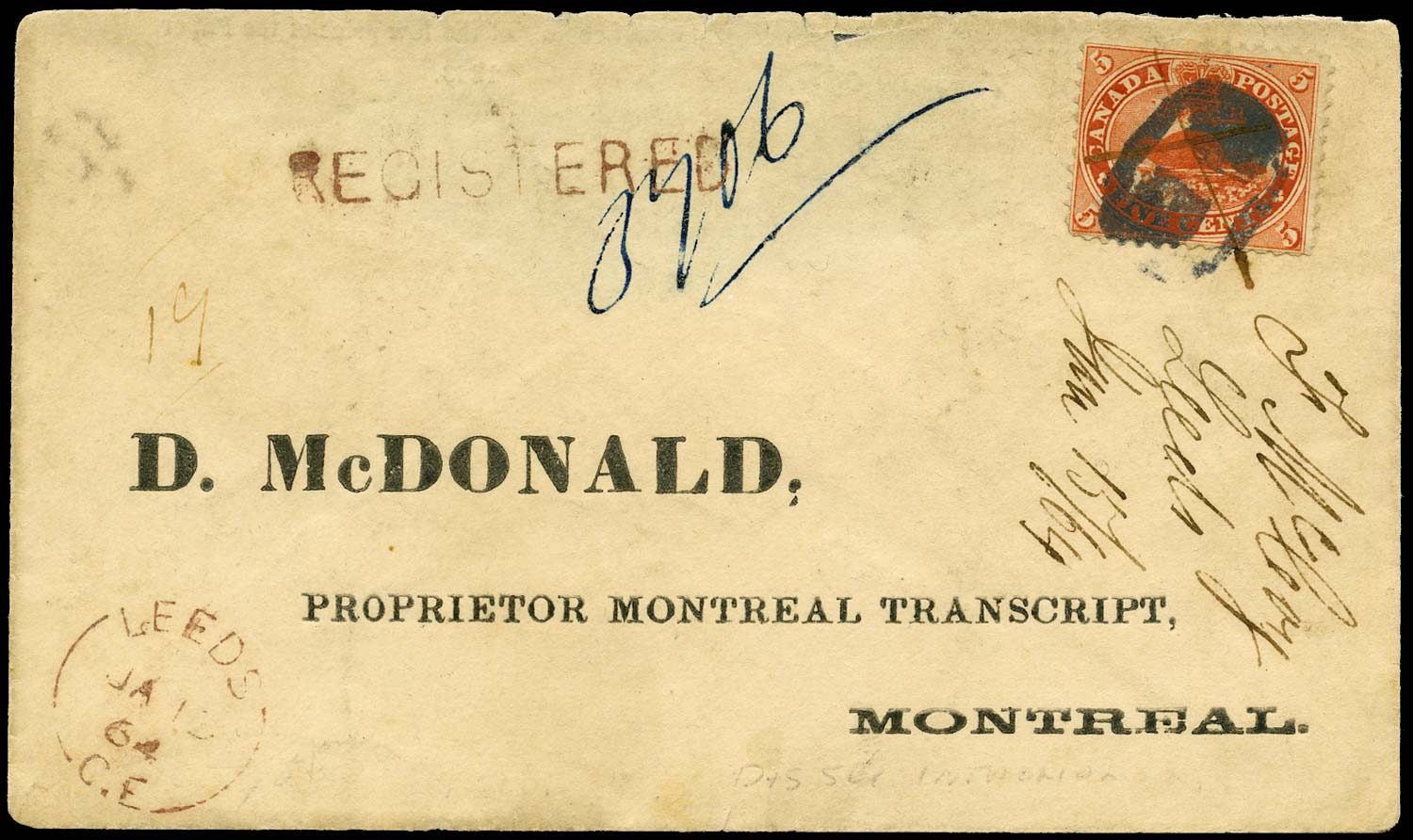 CANADA 1864  SG32 Cover from Leeds to Montreal carried on R.P.O.