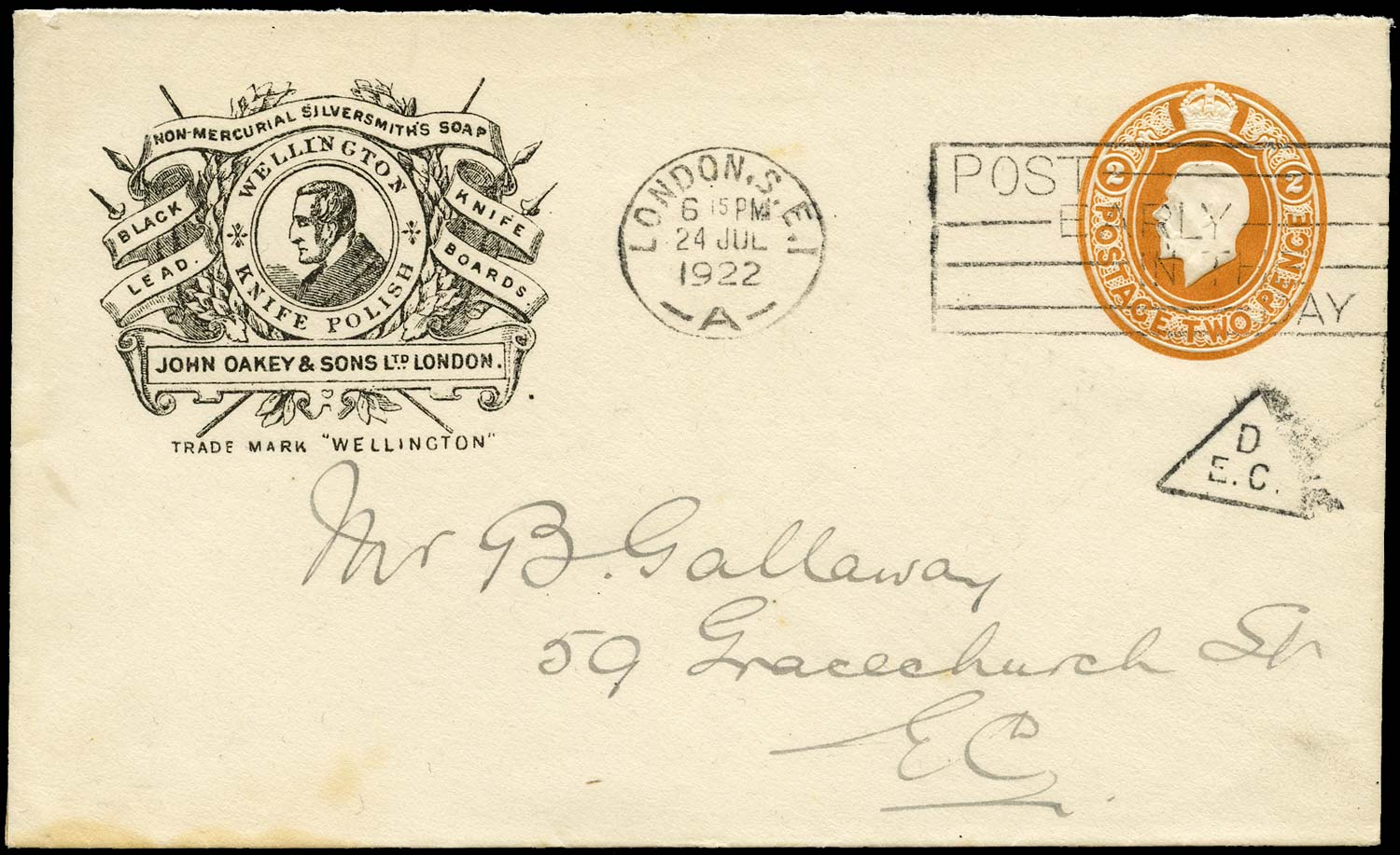 GB 1922 Postal Stationery rate reduction inspectors mark