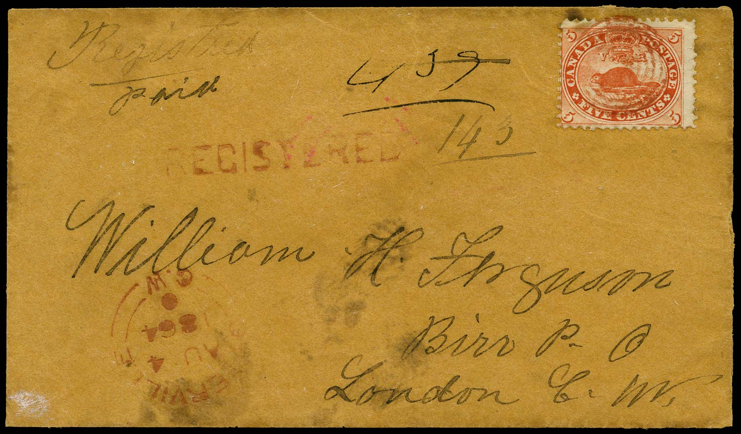 CANADA 1864  SG31 Cover registered from Otterville to Birr